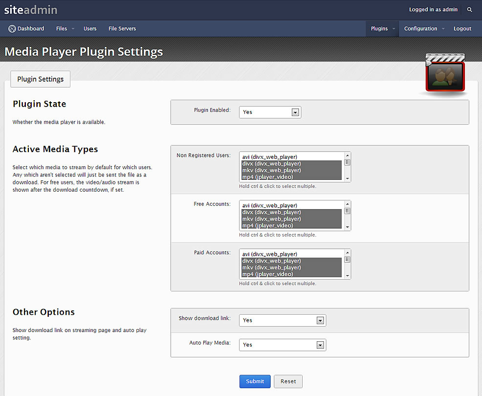 le plugin webplayer v16